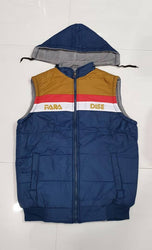 Comfy Multicoloured Polyester Sleeveless Colourblocked Hooded Jacket For Men