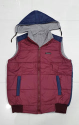 Comfy Maroon Polyester Sleeveless Solid Hooded Jacket For Men