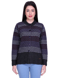 Comfy Multicoloured Woolen Cardigan For Women