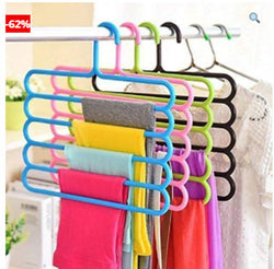 Pack of 5 Multi-Layer 5-in-1 Plastic Hanger Clothes Organizer for Wardrobe, Shirts, Ties, Pants