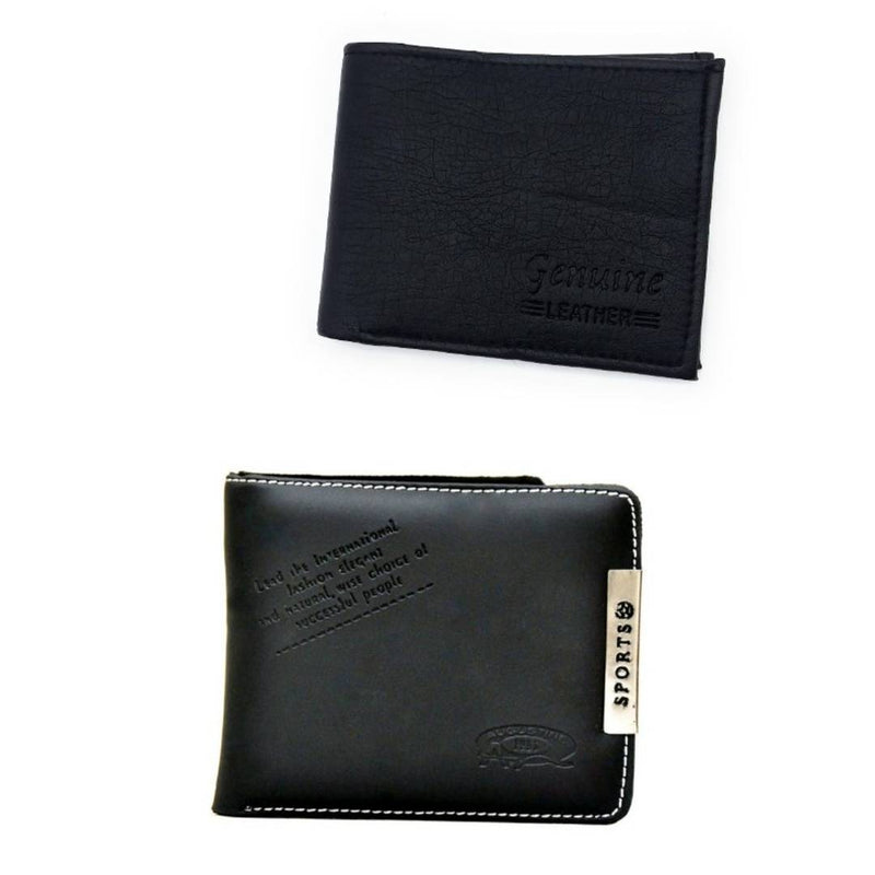Men's Multicoloured Leatherette 4 Card slots &  2 Compartment Wallets (Pack of 2)