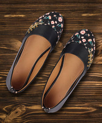 Stylish Synthetic Black Printed Bellies For Women