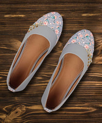 Stylish Synthetic Grey Printed Bellies For Women