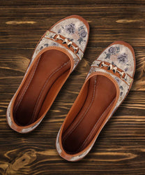 Stylish Synthetic Brown Printed Bellies For Women