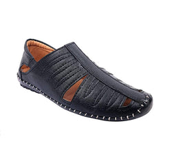Men's Stylish and Trendy Black Solid Synthetic Casual Comfort Sandals