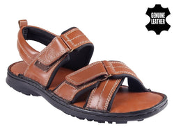 Men's Stylish and Trendy Tan Solid Leather Comfort Sandals