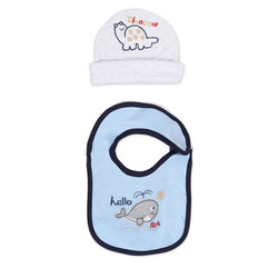 Rabbit Pocket Cotton Printed Cap Bib For New Born Baby Unisex Set of 2 Combo Pack