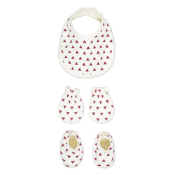 Unisex Rabbit Pocket Cotton Checked Bib Mittens Booties For New Borns - Set of 3 Combo Pack