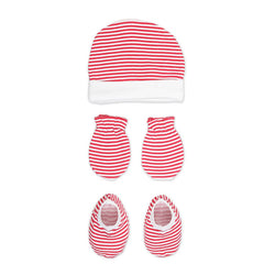 Rabbit Pocket Cotton Striped Cap Mittens Booties For New Born Baby Unisex Set of 3 Combo Pack