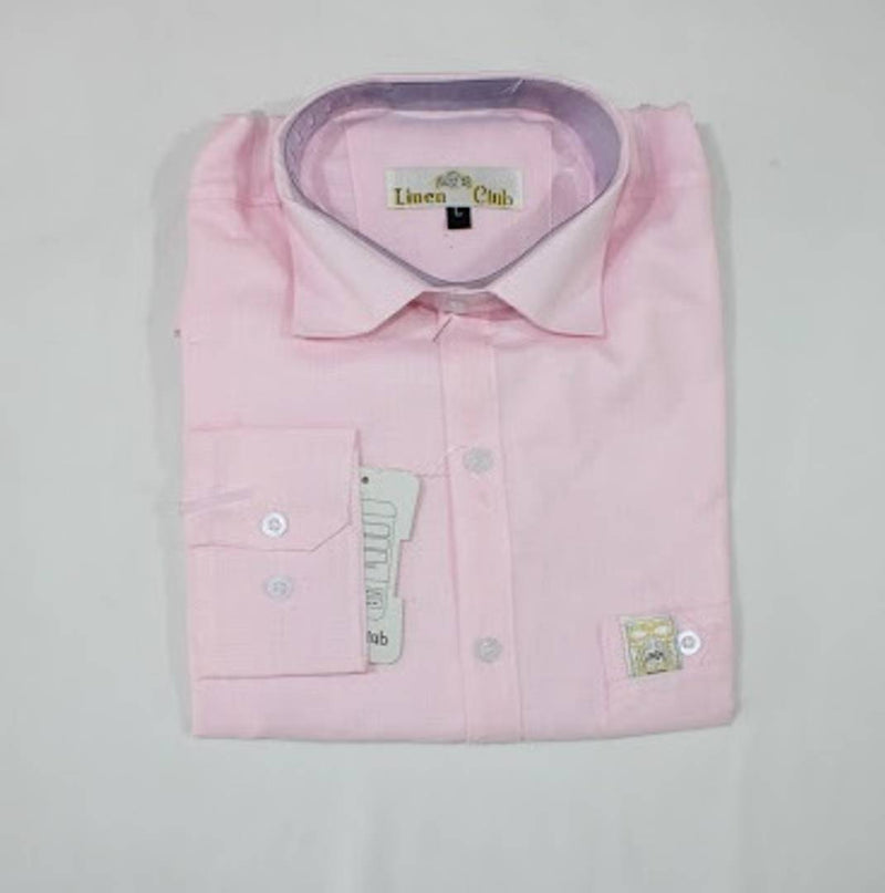 Modern Pink Cotton Blend Solid Formal Shirt For Men