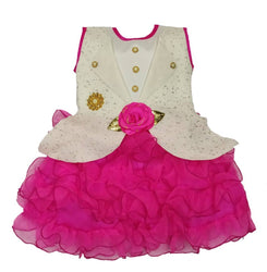 Cute Net Pink Show Button Flower Design Frock For Girls