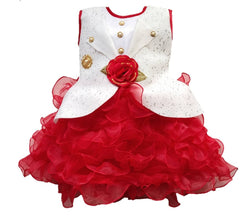 Cute Net Red  Show Button Flower Design Frock For Girls