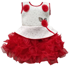 Cute Net Red Flower Patch Work Frock For Girls