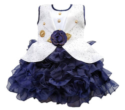 Cute Net Navy Blue Show Button Flower Design Frock For Girls