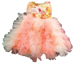 Cute Satin With Net Peach Flower Printed Frock For Girls