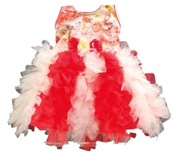 Cute Satin With Net Red Flower Printed Frock For Girls