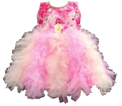 Cute Satin With Net Pink Flower Printed Frock For Girls