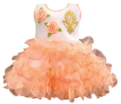 Cute Net Peach Flower Patch Design Frock For Girls