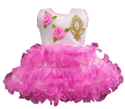 Cute Net Pink Flower Patch Design Frock For Girls