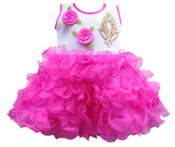 Cute Net Purple Flower Patch Design Frock For Girls
