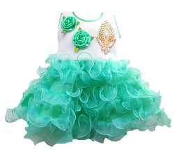 Cute Net Green Flower Patch Design Frock For Girls