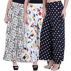 Women's Beautiful and Stylish Multicoloured Crepe Trousers (Pack of 3)