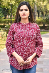 Stylish Cotton Maroon Printed Top For Women