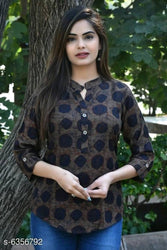 Stylish Rayon Black Printed Top For Women
