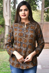 Stylish Rayon Brown Printed Top For Women