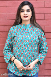 Stylish Rayon Turquoise Printed Top For Women
