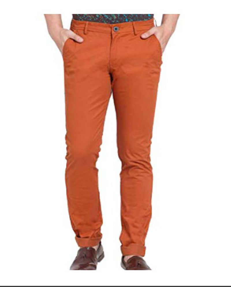 Stylish Orange Regular Fit Solid Casual Trouser For Men