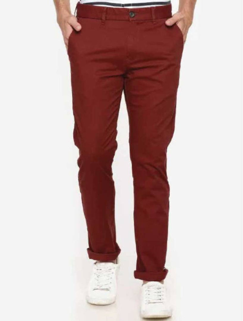 Stylish Maroon Regular Fit Solid Casual Trouser For Men
