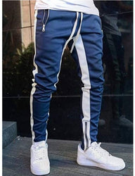 Stylish Cotton Blend Blue And White Solid Track Pant For Men