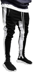 Stylish Cotton Blend White And Black Solid Track Pant For Men