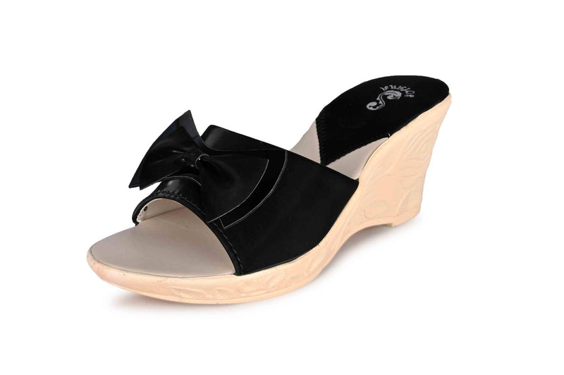 Women's Trendy Black Solid Synthetic Wedges