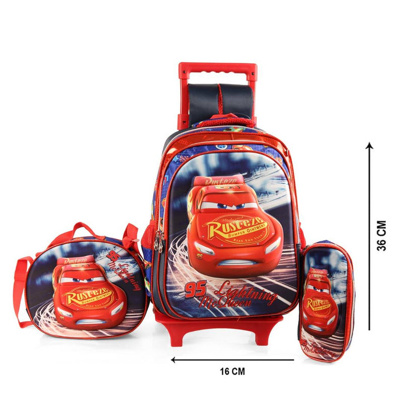 Creative Black Polyester Printed School Bag Trolley For Kids