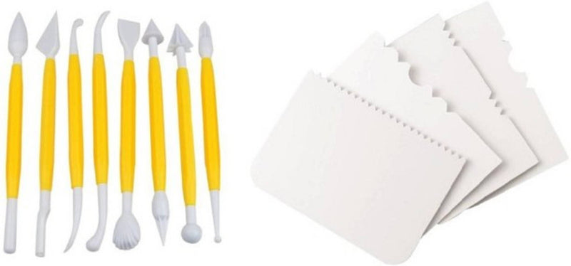 Cake Modelling Decorating Fondant Tool Kit Set with 4 Cake Scrappers Baking Tools Accessories Set