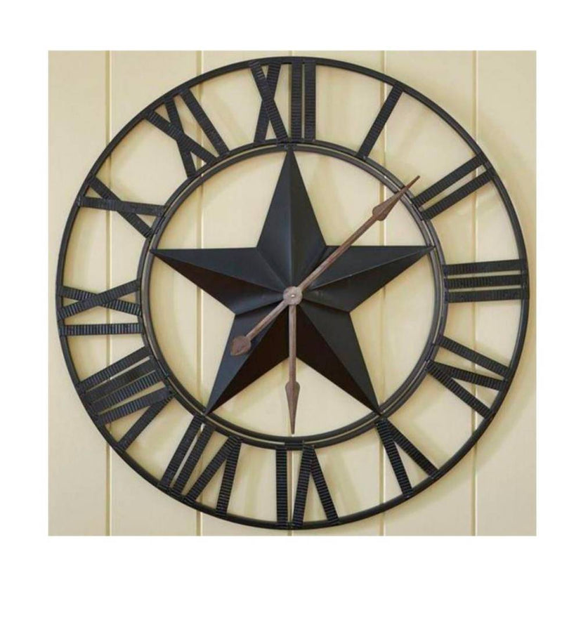 Black Vintage Iron Round Shaped Wall Clock