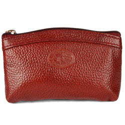 Stylish Leather Maroon Solid Pouch For Women