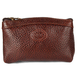 Stylish Leather Brown Solid Pouch For Women