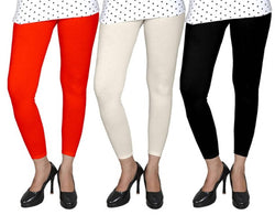 Stylish Cotton Lycra Self Pattern Skinny Fit Leggings For Women(Pack Of 3)