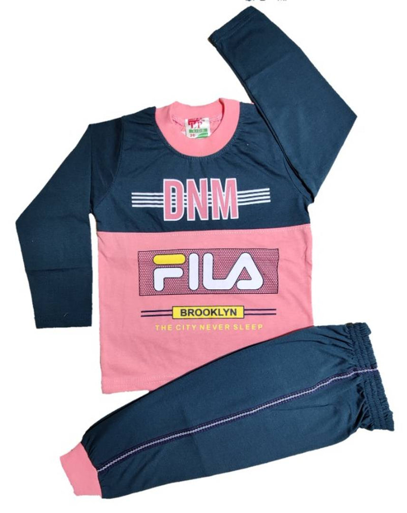 Kids Round Neck T-Shirt With Track Pant (Denim)