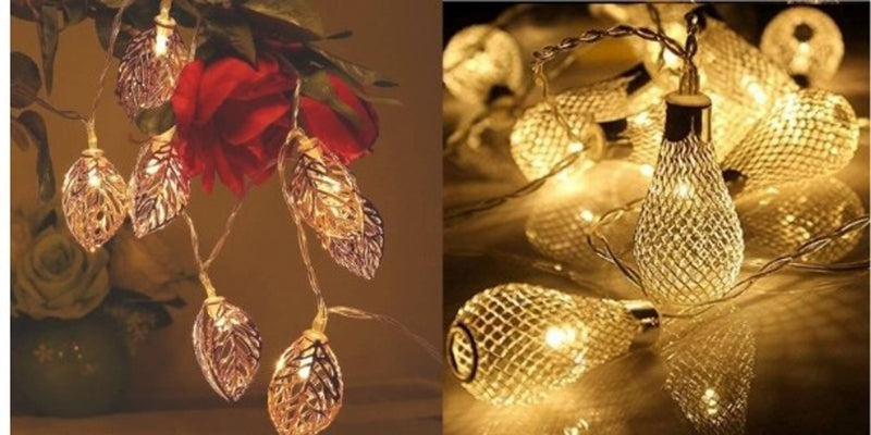 ( Pack Of 2) Crystal Leaf  String Fairy Lights for Decortaion Diwali Christmas Xmas Light for Diwali Home Decorations Lighting (Warm White, 3 Meter)