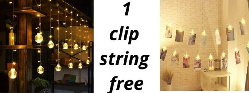 (One 16 Klip light free)  Indoor Outdoor String Lights Window Curtain Lights with 8 Flashing Modes Diwali Party Home Garden Shop Decoration Backdrop (8.2 Feet, Wish Ball-Warm Yellow) Brand: LAZYMAR