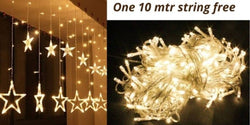 ( one 10 mtr string free) Star Curtain LED String Light Special Lighting with 8 Flashing Modes for Home Decoration, Diwali Lights, Christmas Light, Birthday, Festival (12 Stars with 138 LED)