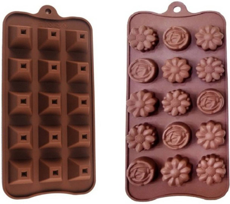 Silicone Pyramid Flower Shape Chocolate Making Mould Set of 2