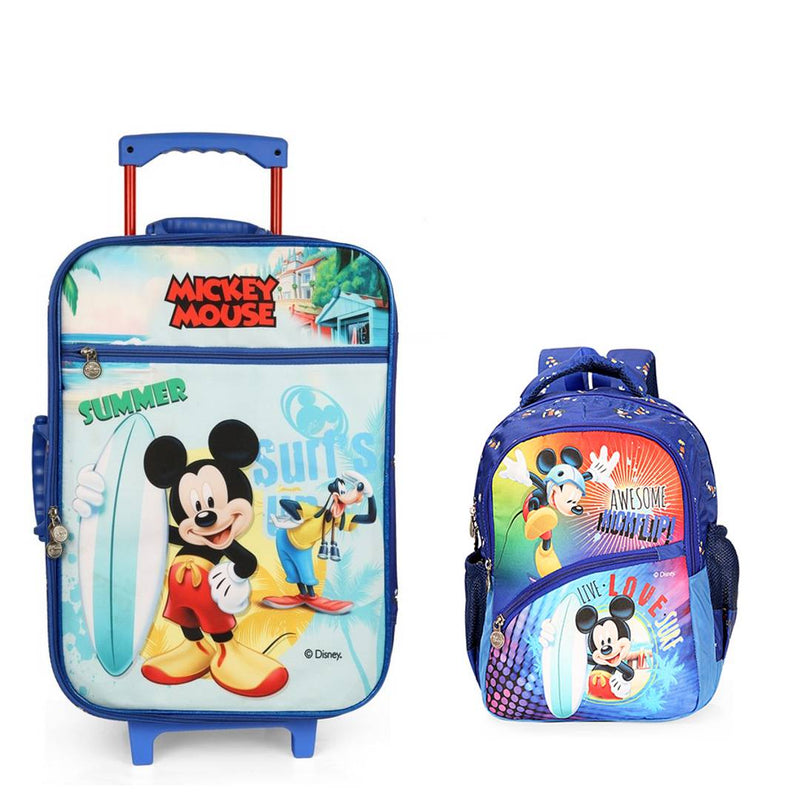Premium Blue Mickey Mouse printed Kids Trolley Bag With School Bag For Kids (41 Ltr)
