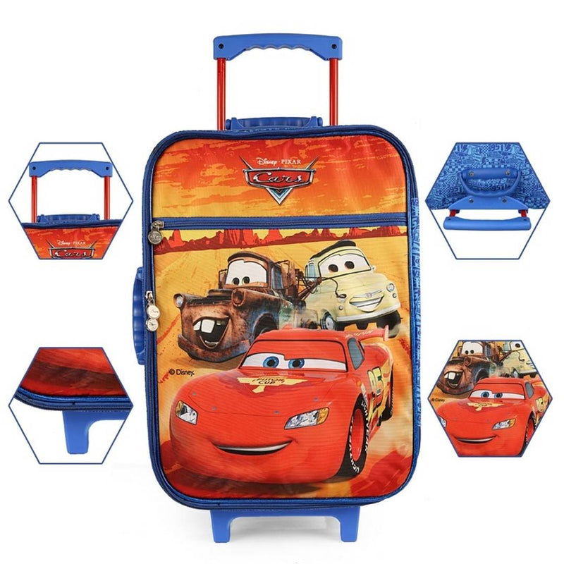 Premium Blue Cars Printed Kids Trolley Bag With School Bag For Kids (41 Ltr)