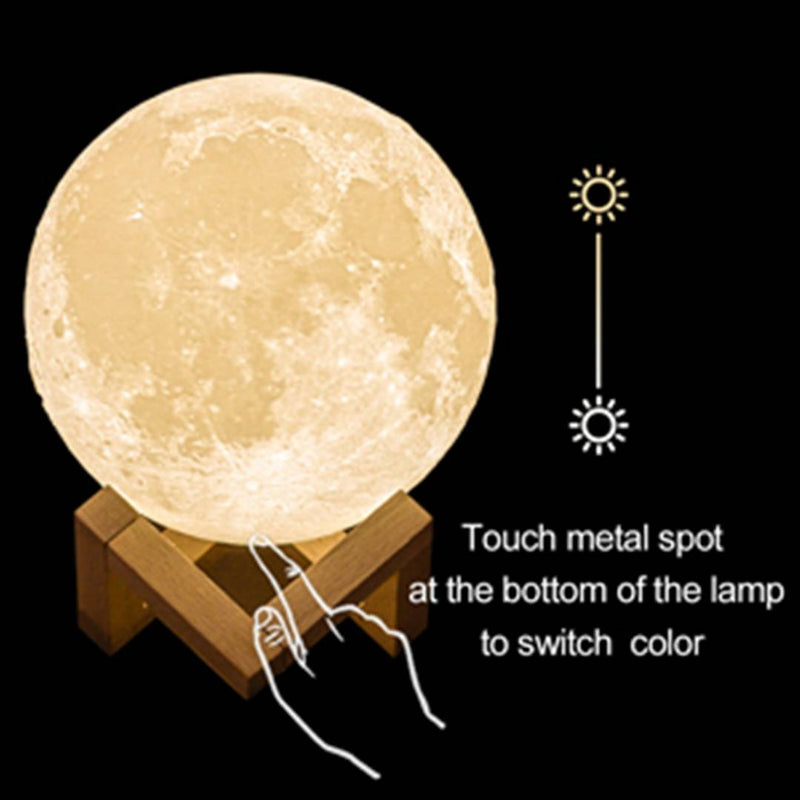 3D Printed Touch Sensor Moonlight/Moon Shaped Light/Moon Night Light for Bedroom/Home Decoration Lamp/Lunar Table Lamp