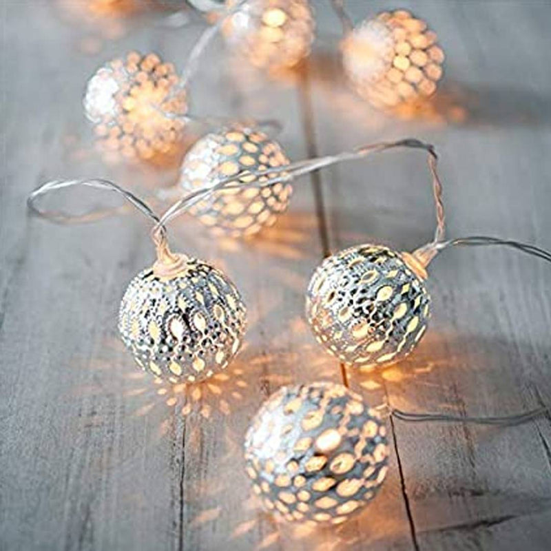 16 LED Metal Golden Mesh Lantern Decoration Light Direct Plug In For Diwali & Other Home Decorations - Warm White